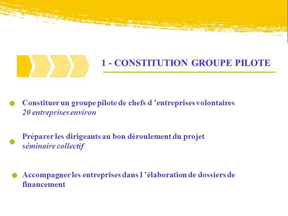 1 - CONSTITUTION GROUPE PILOTE Constituer un groupe pilote de chefs d entreprises volontaires 20 entreprises environ Préparer les dirigeants au bon dé
