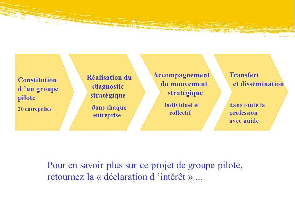 Constitution d un groupe pilote 20 entreprises Réalisation du diagnostic stratégique dans chaque entreprise Accompagnement du mouvement stratégique in