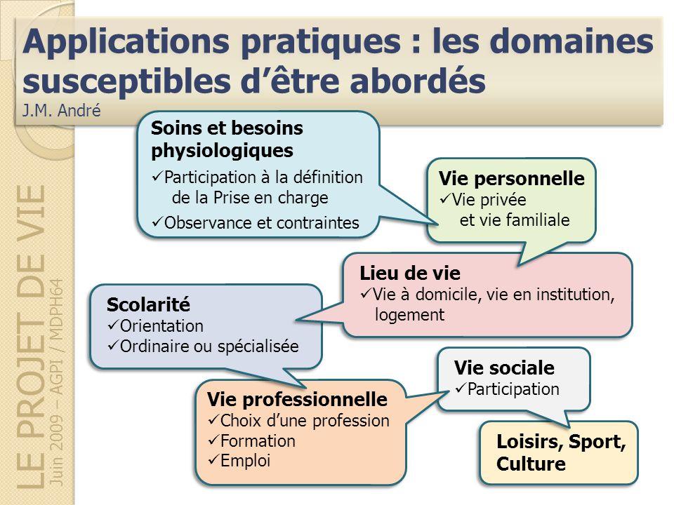 LE PROJET DE VIE Applications pratiques : les domaines susceptibles dêtre abordés J.M. André Applications pratiques : les domaines susceptibles dêtre