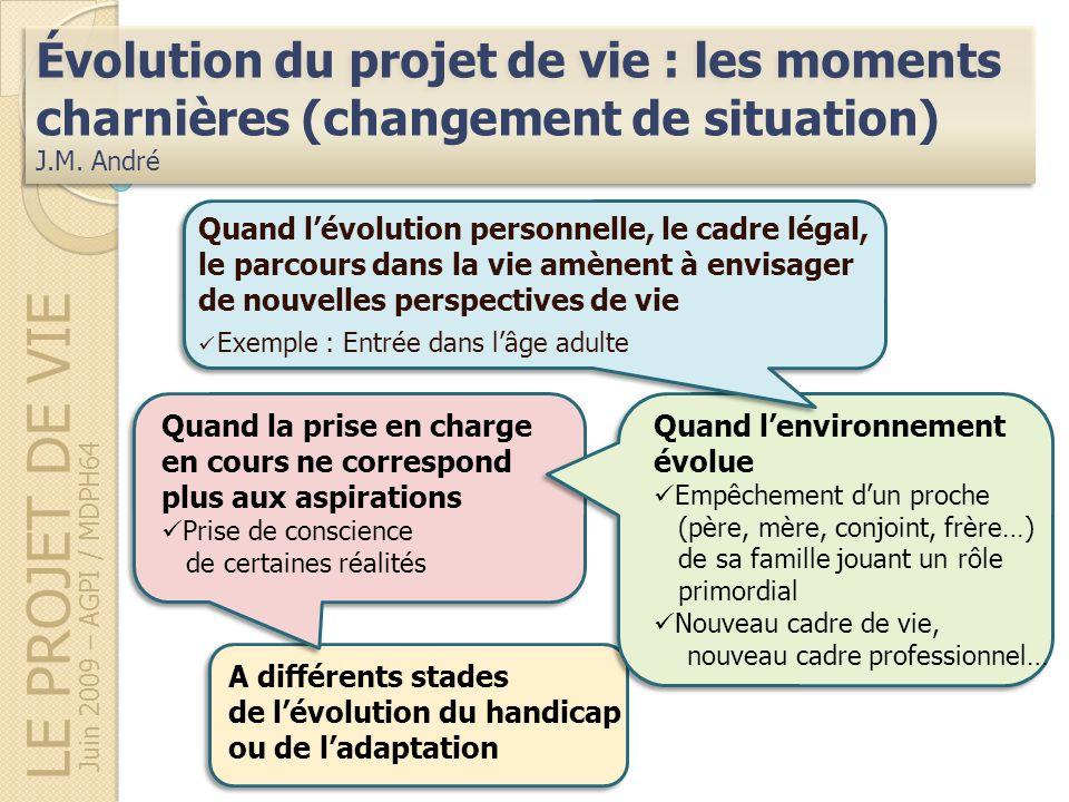 LE PROJET DE VIE Évolution du projet de vie : les moments charnières (changement de situation) J.M. André Évolution du projet de vie : les moments cha