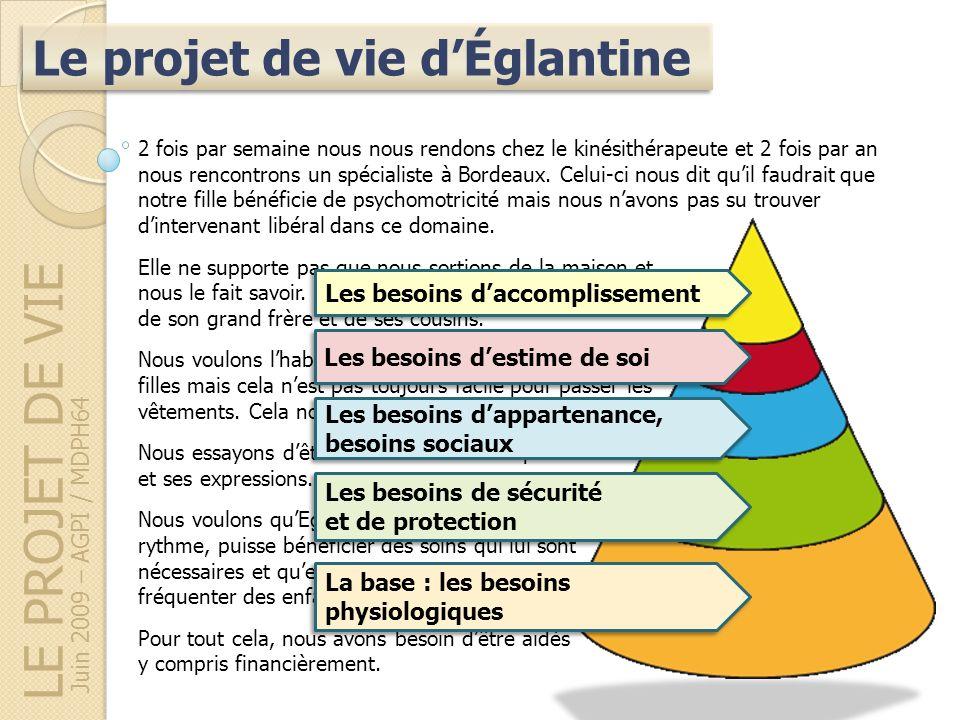 LE PROJET DE VIE Juin 2009 – AGPI / MDPH64 Le projet de vie dÉglantine 2 fois par semaine nous nous rendons chez le kinésithérapeute et 2 fois par an