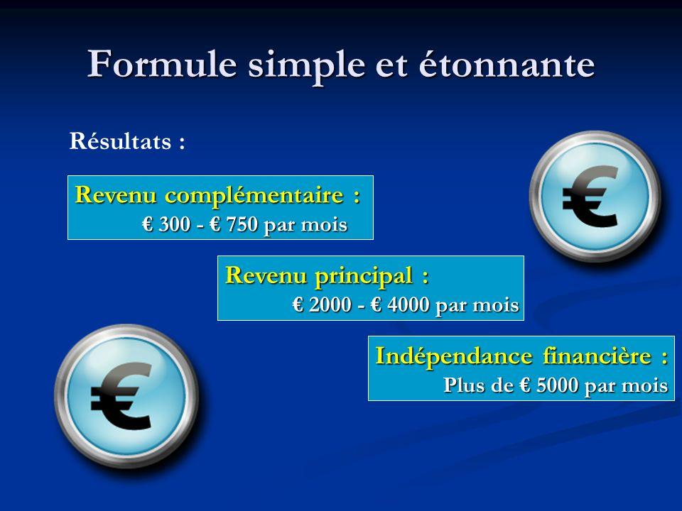 Formule simple et étonnante Revenu complémentaire : 300 - 750 par mois 300 - 750 par mois Résultats : Revenu principal : 2000 - 4000 par mois 2000 - 4000 par mois Indépendance financière : Plus de 5000 par mois