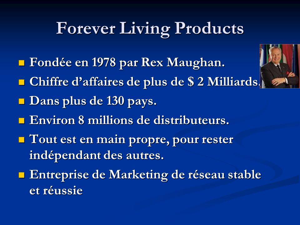 Forever Living Products Fondée en 1978 par Rex Maughan.