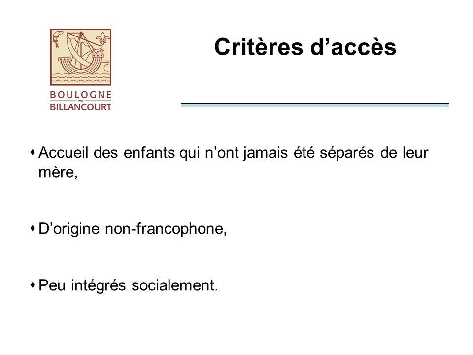 Critères daccès Accueil des enfants qui nont jamais été séparés de leur mère, Dorigine non-francophone, Peu intégrés socialement.