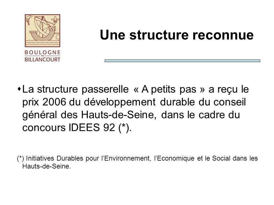 Une structure reconnue La structure passerelle « A petits pas » a reçu le prix 2006 du développement durable du conseil général des Hauts-de-Seine, dans le cadre du concours IDEES 92 (*).