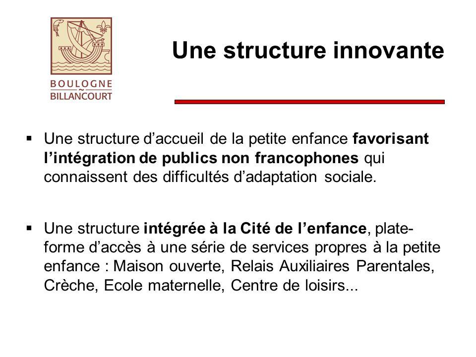 Une structure innovante Une structure daccueil de la petite enfance favorisant lintégration de publics non francophones qui connaissent des difficultés dadaptation sociale.
