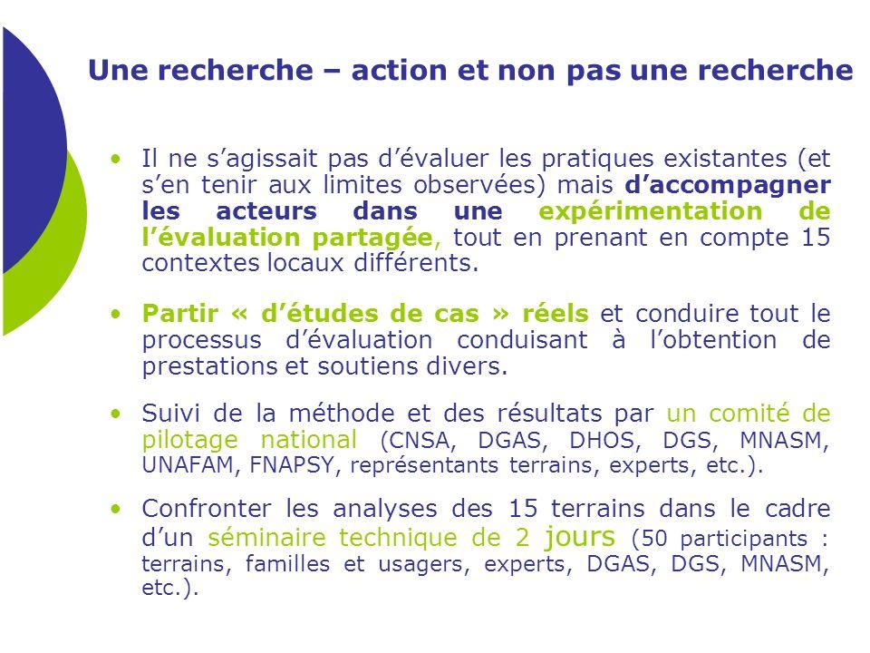 Une recherche – action et non pas une recherche Il ne sagissait pas dévaluer les pratiques existantes (et sen tenir aux limites observées) mais daccom