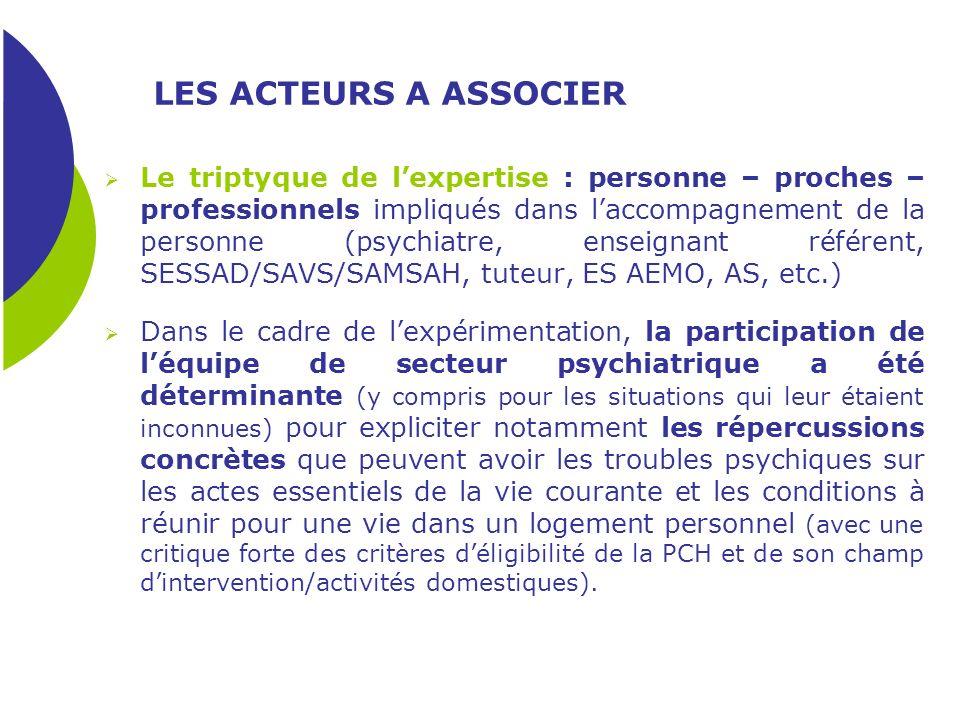 LES ACTEURS A ASSOCIER Le triptyque de lexpertise : personne – proches – professionnels impliqués dans laccompagnement de la personne (psychiatre, ens