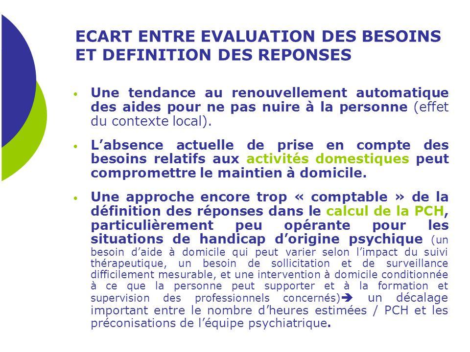 ECART ENTRE EVALUATION DES BESOINS ET DEFINITION DES REPONSES Une tendance au renouvellement automatique des aides pour ne pas nuire à la personne (ef