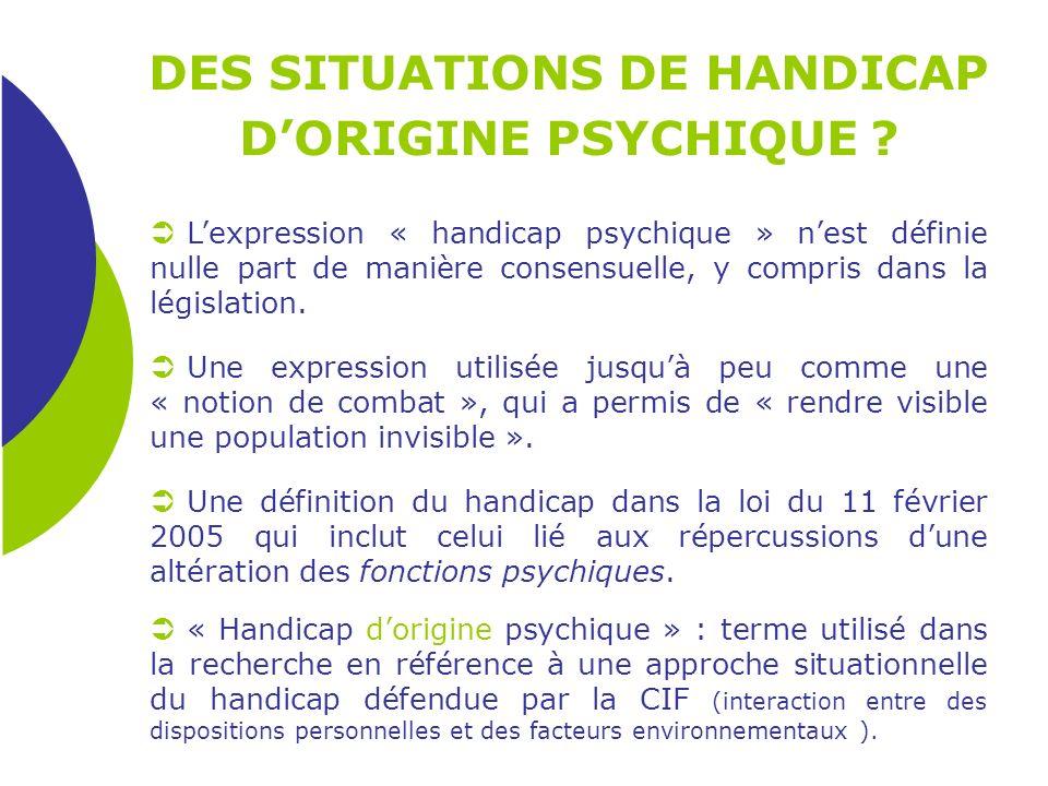 Lexpression « handicap psychique » nest définie nulle part de manière consensuelle, y compris dans la législation. Une expression utilisée jusquà peu