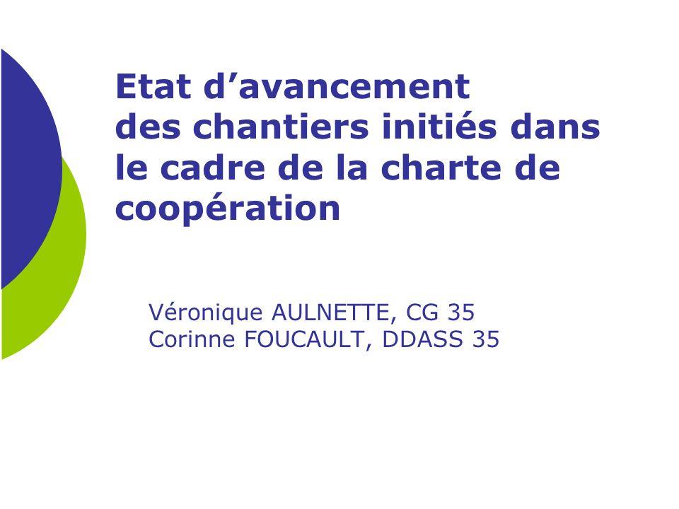 Etat davancement des chantiers initiés dans le cadre de la charte de coopération Véronique AULNETTE, CG 35 Corinne FOUCAULT, DDASS 35