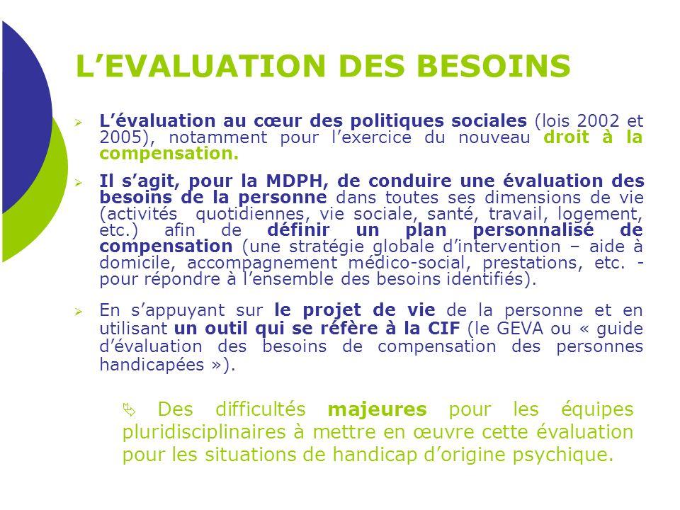 LEVALUATION DES BESOINS Lévaluation au cœur des politiques sociales (lois 2002 et 2005), notamment pour lexercice du nouveau droit à la compensation.