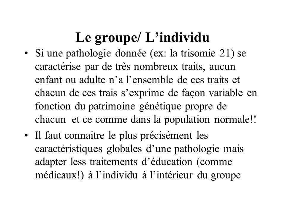 Le groupe/ Lindividu Si une pathologie donnée (ex: la trisomie 21) se caractérise par de très nombreux traits, aucun enfant ou adulte na lensemble de