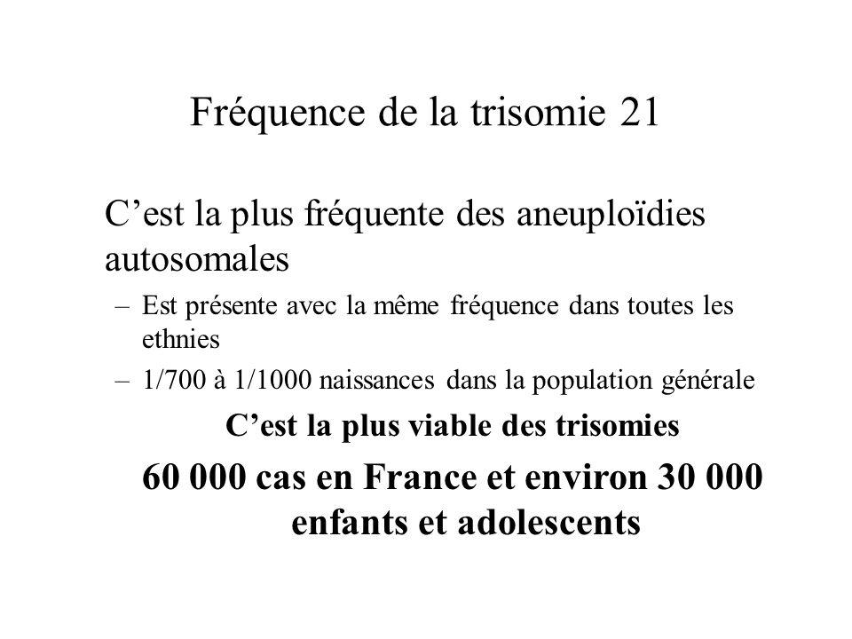Fréquence de la trisomie 21 Cest la plus fréquente des aneuploïdies autosomales –Est présente avec la même fréquence dans toutes les ethnies –1/700 à