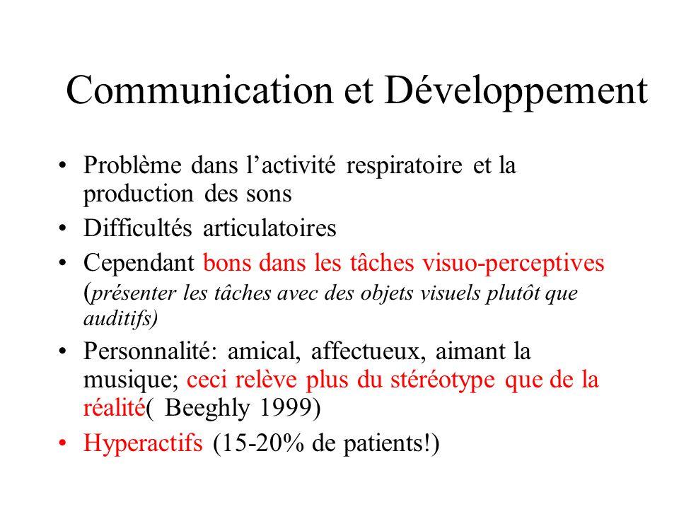 Communication et Développement Problème dans lactivité respiratoire et la production des sons Difficultés articulatoires Cependant bons dans les tâche