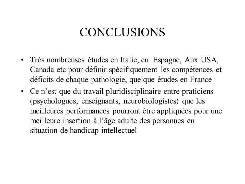 CONCLUSIONS Très nombreuses études en Italie, en Espagne, Aux USA, Canada etc pour définir spécifiquement les compétences et déficits de chaque pathol