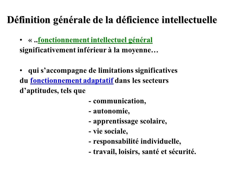 Définition générale de la déficience intellectuelle «..fonctionnement intellectuel général significativement inférieur à la moyenne… qui saccompagne d