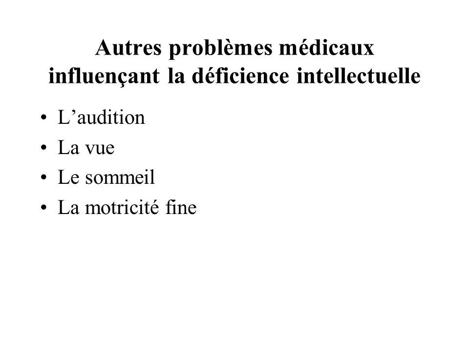 Autres problèmes médicaux influençant la déficience intellectuelle Laudition La vue Le sommeil La motricité fine