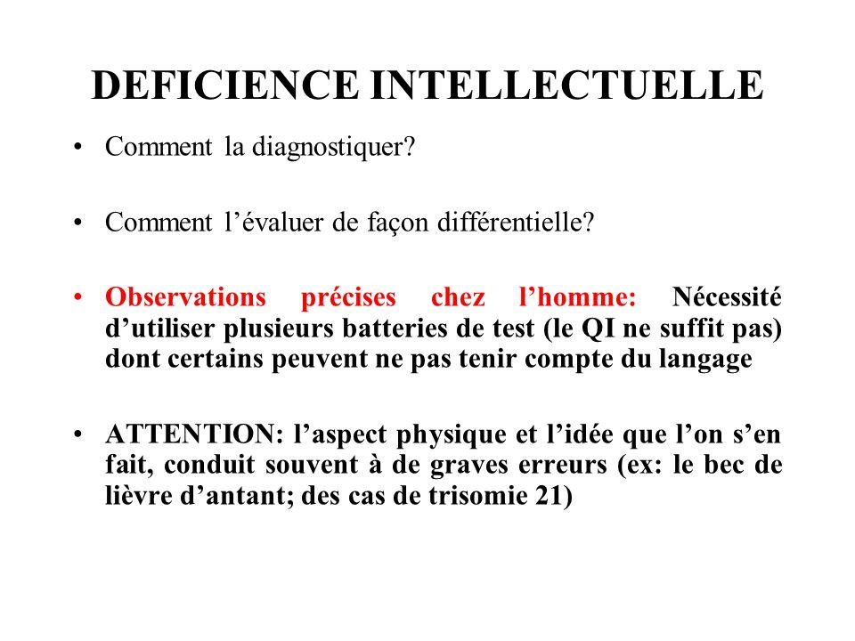 DEFICIENCE INTELLECTUELLE Comment la diagnostiquer? Comment lévaluer de façon différentielle? Observations précises chez lhomme: Nécessité dutiliser p