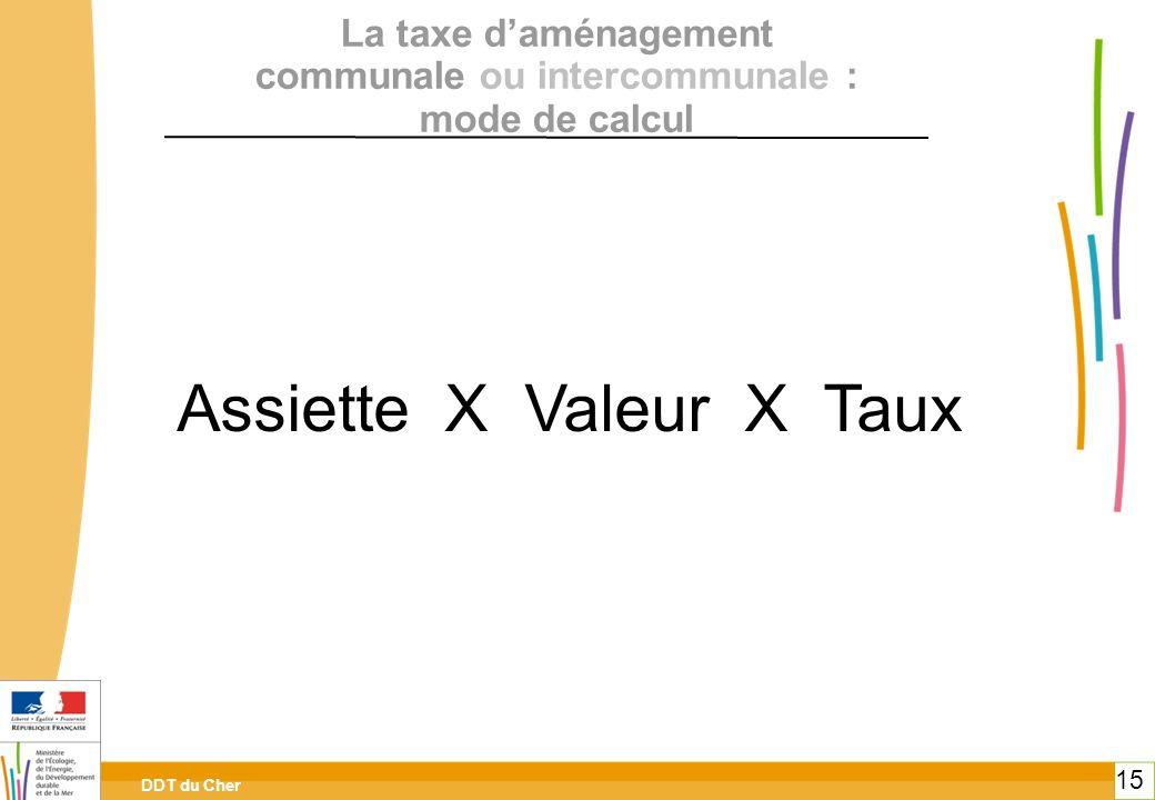 DDT du Cher 15 La taxe daménagement communale ou intercommunale : mode de calcul Assiette X Valeur X Taux