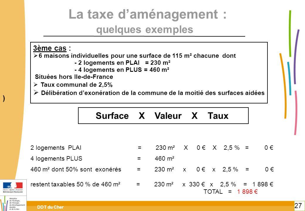 DDT du Cher 27 La taxe daménagement : 3ème cas : 6 maisons individuelles pour une surface de 115 m² chacune dont - 2 logements en PLAI = 230 m² - 4 lo