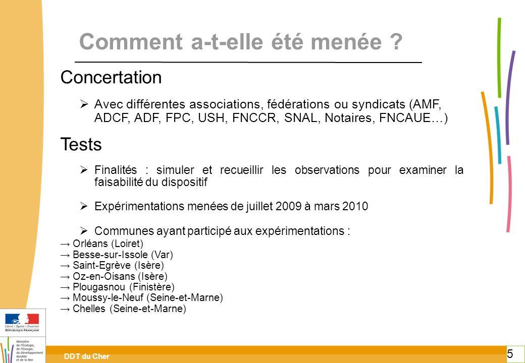 DDT du Cher 5 Comment a-t-elle été menée ? Concertation Avec différentes associations, fédérations ou syndicats (AMF, ADCF, ADF, FPC, USH, FNCCR, SNAL