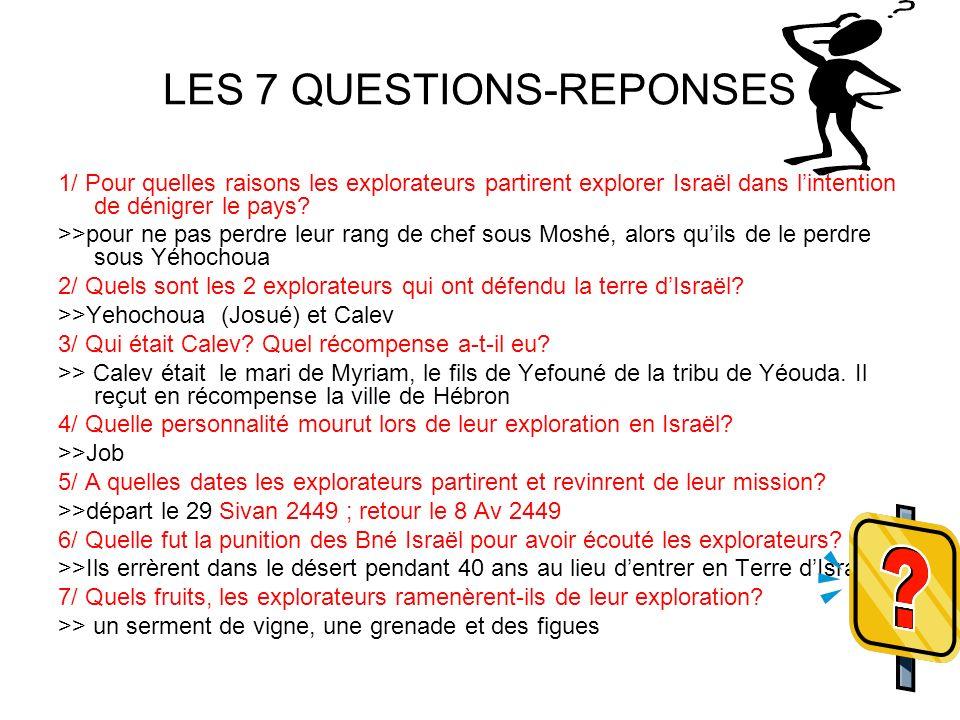 LES 7 QUESTIONS-REPONSES 1/ Pour quelles raisons les explorateurs partirent explorer Israël dans lintention de dénigrer le pays? >>pour ne pas perdre
