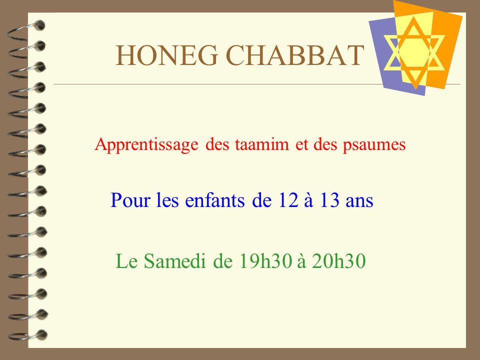 HONEG CHABBAT Apprentissage des taamim et des psaumes Pour les enfants de 12 à 13 ans Le Samedi de 19h30 à 20h30
