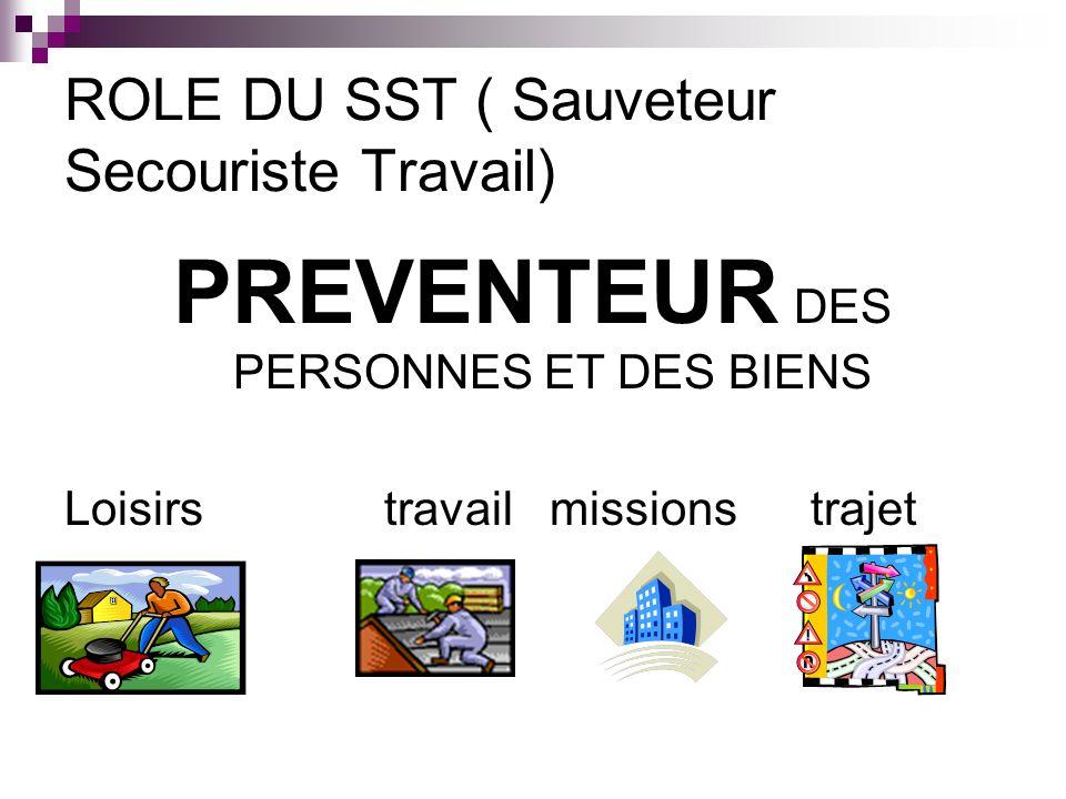 ROLE DU SST ( Sauveteur Secouriste Travail) PREVENTEUR DES PERSONNES ET DES BIENS Loisirstravail missionstrajet