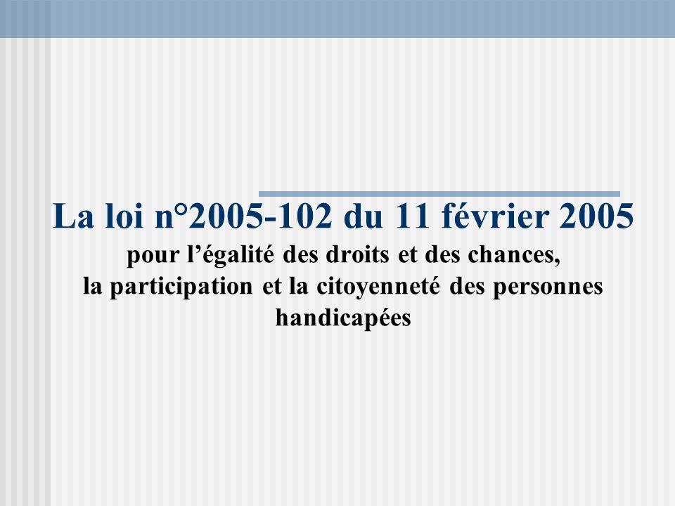 La loi n°2005-102 du 11 février 2005 pour légalité des droits et des chances, la participation et la citoyenneté des personnes handicapées