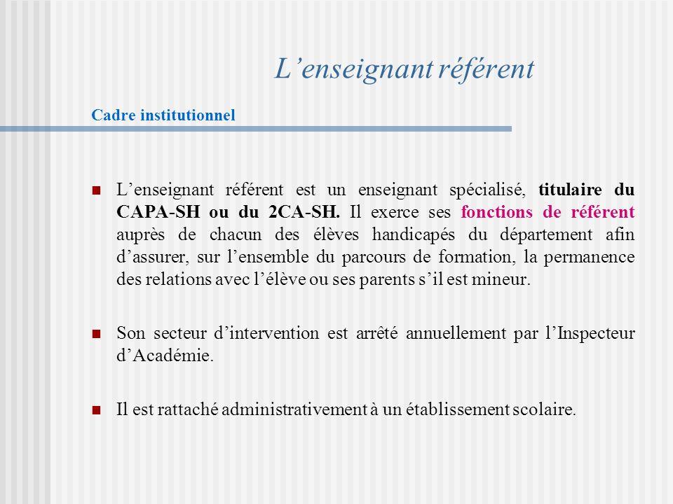 Lenseignant référent Cadre institutionnel Lenseignant référent est un enseignant spécialisé, titulaire du CAPA-SH ou du 2CA-SH.