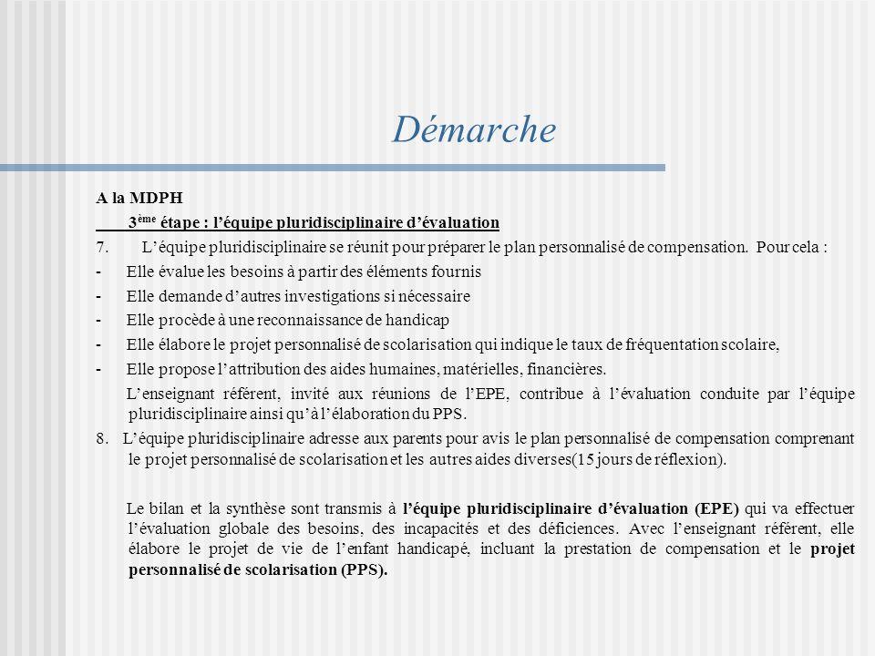 Démarche A la MDPH 3 ème étape : léquipe pluridisciplinaire dévaluation 7.