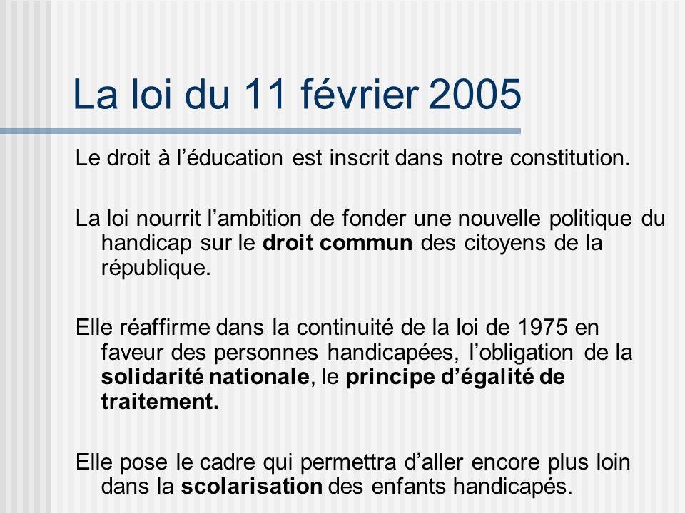 La loi du 11 février 2005 Le droit à léducation est inscrit dans notre constitution.
