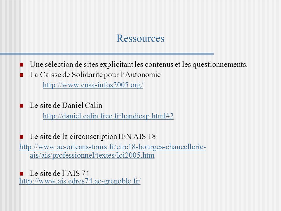 Ressources Une sélection de sites explicitant les contenus et les questionnements.