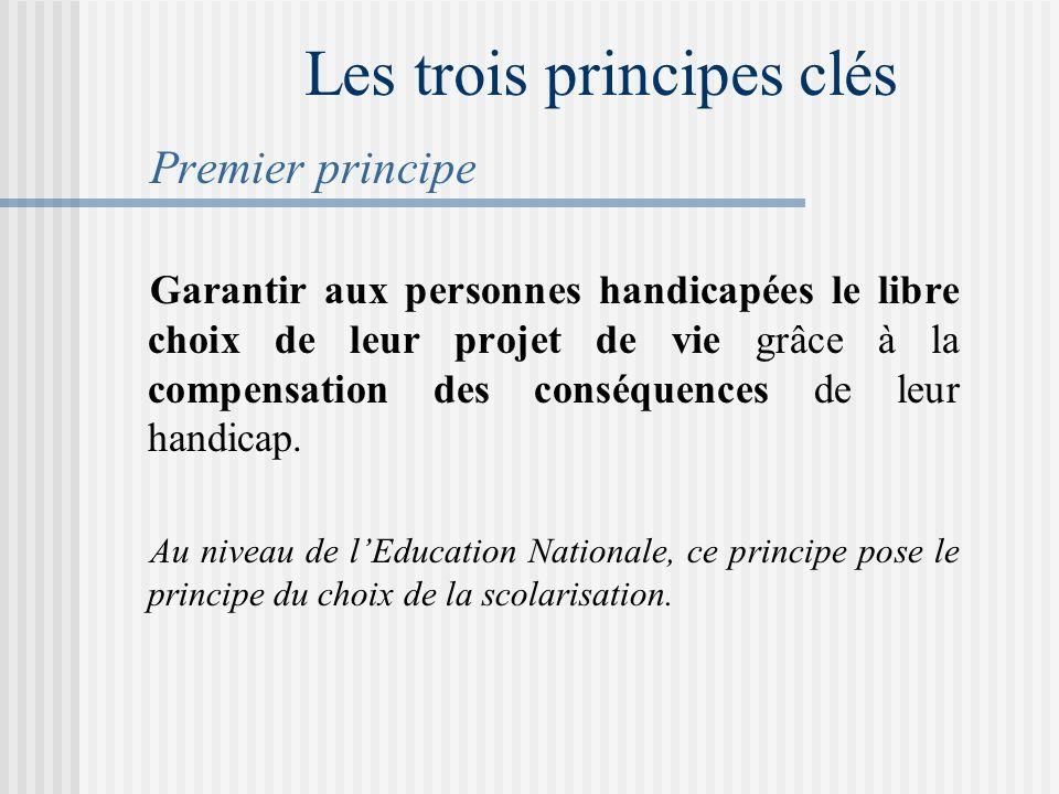 Les trois principes clés Premier principe Garantir aux personnes handicapées le libre choix de leur projet de vie grâce à la compensation des conséquences de leur handicap.