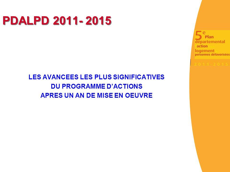 PDALPD 2011- 2015 LES AVANCEES LES PLUS SIGNIFICATIVES DU PROGRAMME DACTIONS APRES UN AN DE MISE EN OEUVRE