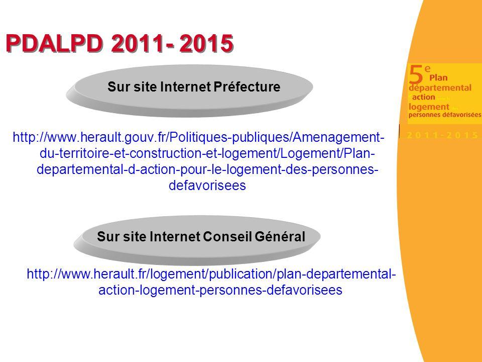 PDALPD 2011- 2015 http://www.herault.gouv.fr/Politiques-publiques/Amenagement- du-territoire-et-construction-et-logement/Logement/Plan- departemental-d-action-pour-le-logement-des-personnes- defavorisees Sur site Internet Préfecture Sur site Internet Conseil Général http://www.herault.fr/logement/publication/plan-departemental- action-logement-personnes-defavorisees