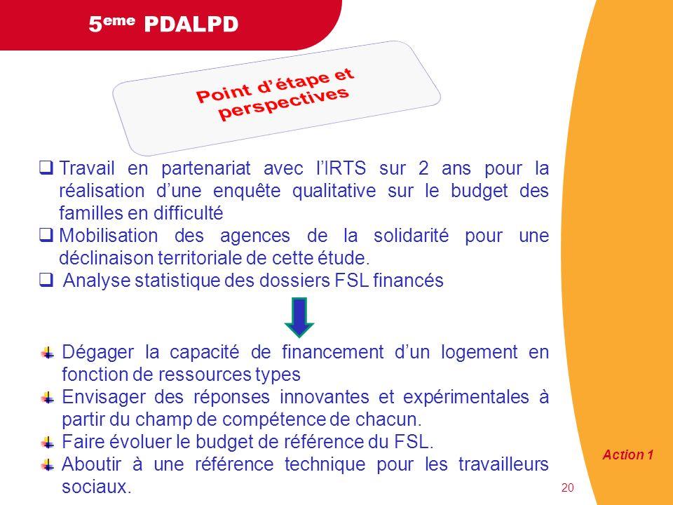 5 eme PDALPD 20 Travail en partenariat avec lIRTS sur 2 ans pour la réalisation dune enquête qualitative sur le budget des familles en difficulté Mobilisation des agences de la solidarité pour une déclinaison territoriale de cette étude.