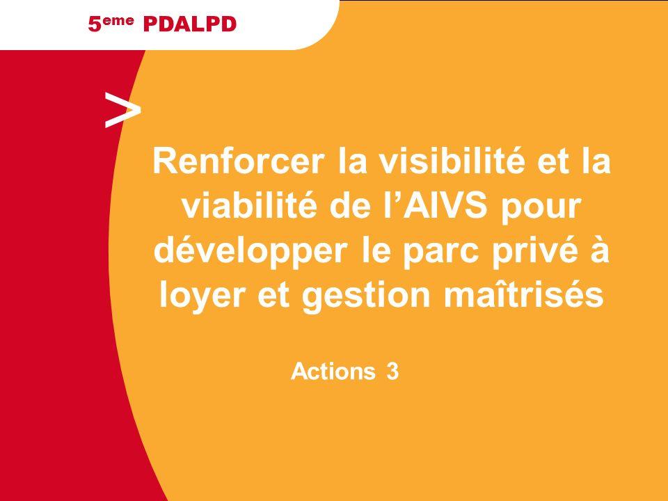 > 5 eme PDALPD Actions 3 Renforcer la visibilité et la viabilité de lAIVS pour développer le parc privé à loyer et gestion maîtrisés