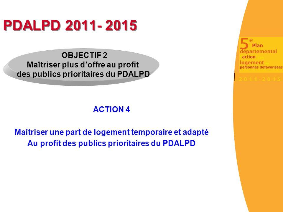 PDALPD 2011- 2015 ACTION 4 Maîtriser une part de logement temporaire et adapté Au profit des publics prioritaires du PDALPD OBJECTIF 2 Maîtriser plus doffre au profit des publics prioritaires du PDALPD