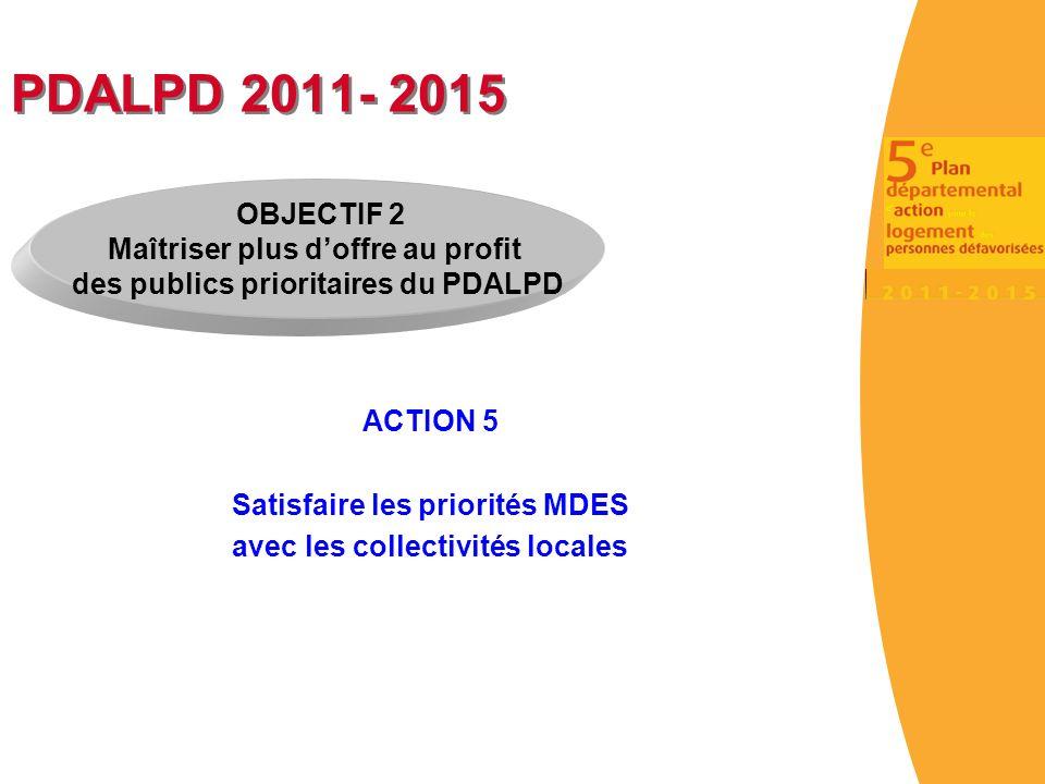 PDALPD 2011- 2015 ACTION 5 Satisfaire les priorités MDES avec les collectivités locales OBJECTIF 2 Maîtriser plus doffre au profit des publics prioritaires du PDALPD