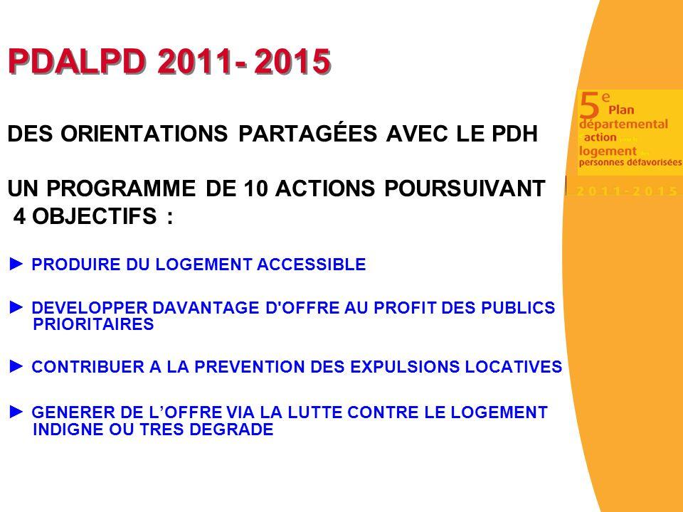 PDALPD 2011- 2015 DES ORIENTATIONS PARTAGÉES AVEC LE PDH UN PROGRAMME DE 10 ACTIONS POURSUIVANT 4 OBJECTIFS : PRODUIRE DU LOGEMENT ACCESSIBLE DEVELOPPER DAVANTAGE D OFFRE AU PROFIT DES PUBLICS PRIORITAIRES CONTRIBUER A LA PREVENTION DES EXPULSIONS LOCATIVES GENERER DE LOFFRE VIA LA LUTTE CONTRE LE LOGEMENT INDIGNE OU TRES DEGRADE