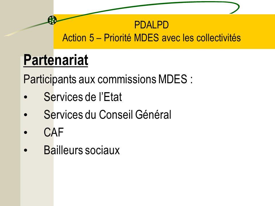 PDALPD Action 5 – Priorité MDES avec les collectivités Partenariat Participants aux commissions MDES : Services de lEtat Services du Conseil Général CAF Bailleurs sociaux
