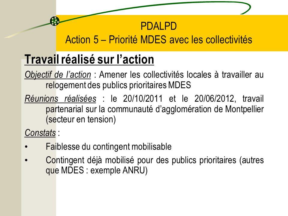 PDALPD Action 5 – Priorité MDES avec les collectivités Travail réalisé sur laction Objectif de laction : Amener les collectivités locales à travailler au relogement des publics prioritaires MDES Réunions réalisées : le 20/10/2011 et le 20/06/2012, travail partenarial sur la communauté dagglomération de Montpellier (secteur en tension) Constats : Faiblesse du contingent mobilisable Contingent déjà mobilisé pour des publics prioritaires (autres que MDES : exemple ANRU)