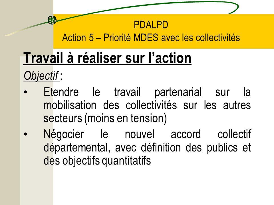 PDALPD Action 5 – Priorité MDES avec les collectivités Travail à réaliser sur laction Objectif : Etendre le travail partenarial sur la mobilisation des collectivités sur les autres secteurs (moins en tension) Négocier le nouvel accord collectif départemental, avec définition des publics et des objectifs quantitatifs