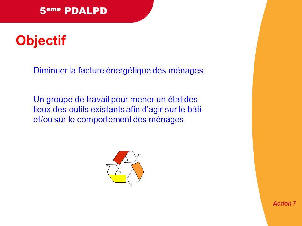 5 eme PDALPD Objectif Diminuer la facture énergétique des ménages.