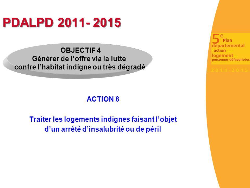 PDALPD 2011- 2015 ACTION 8 Traiter les logements indignes faisant lobjet dun arrêté dinsalubrité ou de péril OBJECTIF 4 Générer de loffre via la lutte contre lhabitat indigne ou très dégradé