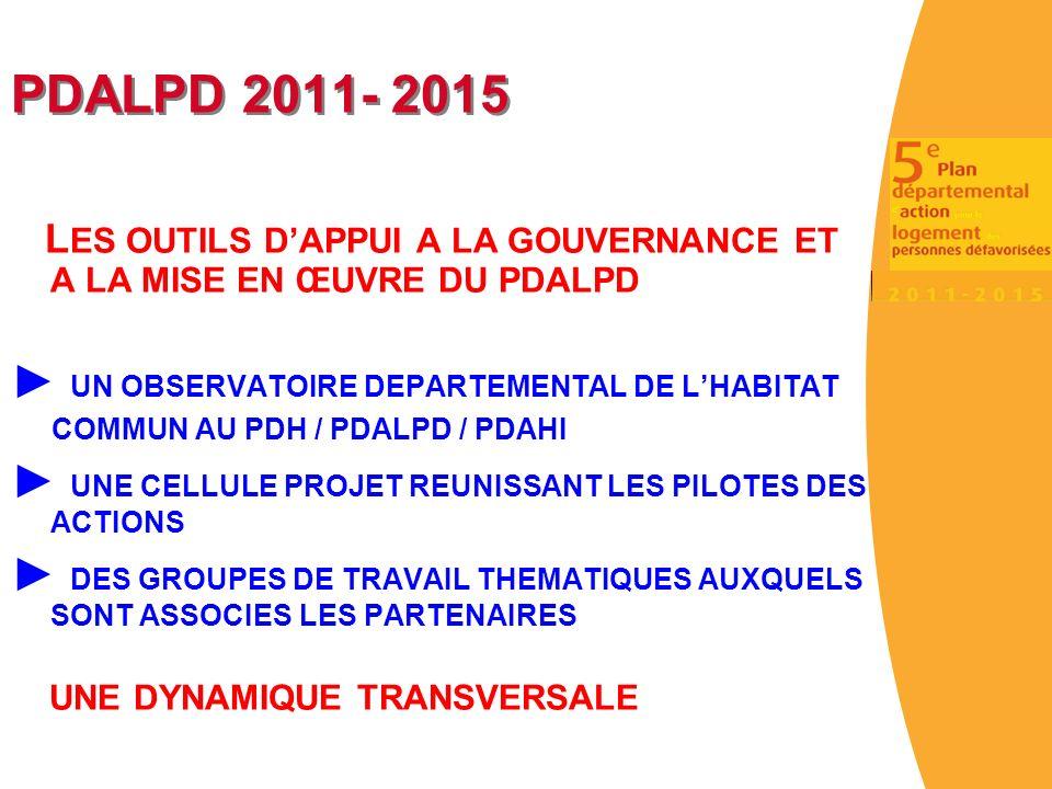 PDALPD 2011- 2015 L ES OUTILS DAPPUI A LA GOUVERNANCE ET A LA MISE EN ŒUVRE DU PDALPD UN OBSERVATOIRE DEPARTEMENTAL DE LHABITAT COMMUN AU PDH / PDALPD / PDAHI UNE CELLULE PROJET REUNISSANT LES PILOTES DES ACTIONS DES GROUPES DE TRAVAIL THEMATIQUES AUXQUELS SONT ASSOCIES LES PARTENAIRES UNE DYNAMIQUE TRANSVERSALE