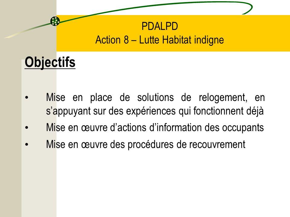 PDALPD Action 8 – Lutte Habitat indigne Objectifs Mise en place de solutions de relogement, en sappuyant sur des expériences qui fonctionnent déjà Mise en œuvre dactions dinformation des occupants Mise en œuvre des procédures de recouvrement