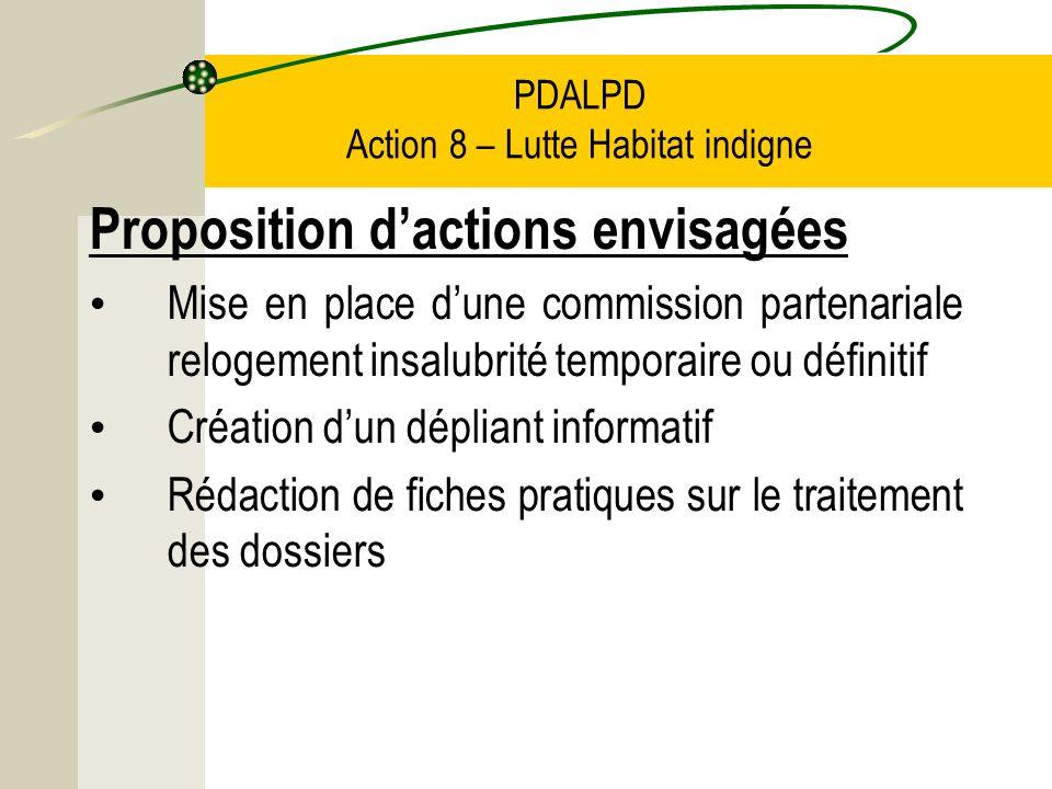 PDALPD Action 8 – Lutte Habitat indigne Proposition dactions envisagées Mise en place dune commission partenariale relogement insalubrité temporaire ou définitif Création dun dépliant informatif Rédaction de fiches pratiques sur le traitement des dossiers